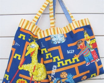 Video Game Sesame Street Upcycled Novelty Tote Bag - Rare Retro Pac Man Inspired - Eco Friendly Child / Kitsch Gift - Baby Bag - OOAK Fun