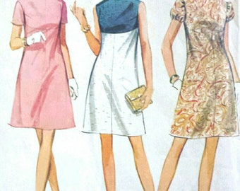 Vintage 1960s Pattern High Waisted Colorblock Mod Dress 1968 McCall's 9320 Bust 38