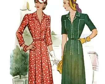 Vintage 1940s Dress Pattern Shirtwaist  Topstiching Detail Front Inverted Pleats 1943 McCall 5122 Bust 32