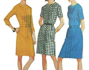 Vintage 1960s Pattern Zip Front Sheath Banded Neckline 1968 McCall's  9354 Bust 37