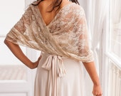 Bridal cover up, wedding lace shawl, wedding gold lace shrug, champagne lace coverup, shawl, bridal accessories, lace bolero, bridal wrap