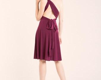 SALE 20% OFF Burgundy short dress, bridesmaid burgundy dress, wine red infinity dress, infinity wrap dress, knee length dress, wine dress