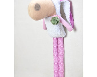 handmade stuffed sheep plushie toy with pom pom in pink