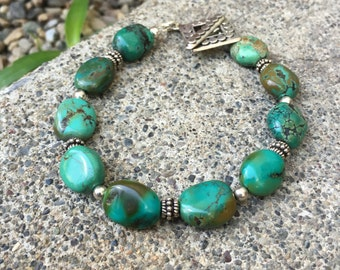 Sterling Silver and Turquoise Bracelet, American Turquoise, Bohemian Boho Jewelry, Southwest, Native, Rustic, Healing Gemstone, Energy, love