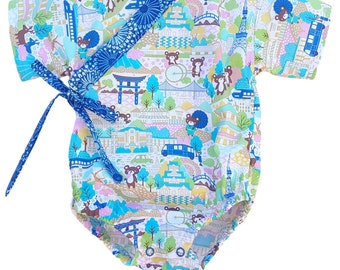 Baby Kimono Bodysuit - Kawaii Bears - baby toddler - cool baby clothes japanese jinbei
