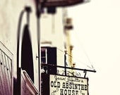 New Orleans Art, Fine Art Photograph. French Quarter, Louisiana, Old Absinthe House Sign
