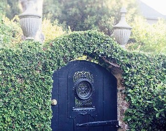 Black Garden Gate, Charleston South Carolina Photography, Fine Art Home Decor Wall Art, Romantic Feminine Picture, Architecture, Garden