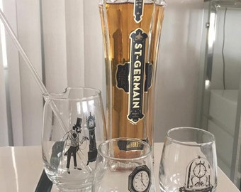 Vintage 50's era Libbey Glass 4 Piece Bar Set -- Martini Set -- Cocktail Set