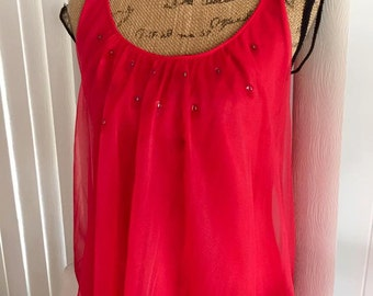 Flirty and Fun Vintage Sheer Nylon Nightie in Red with Big Sequin Discs