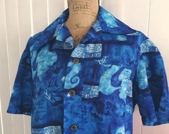 SALE Men's Vintage Blue Abstract Hawaiian Shirt -- Size M-L