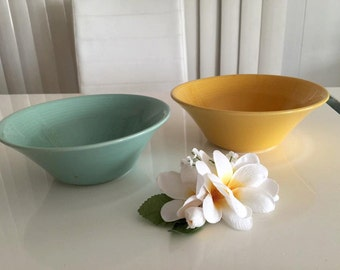 Set of Two Vintage Home Laughlin bowls, turquoise and goldenrod -- Mid Century Dinnerware