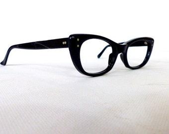 Vintage 1950's Black Cat Eye Eyeglasses // 50's Women's Classic Black Glasses Frames // #M5