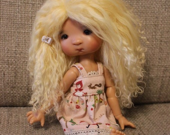 Sunny Light Yellow mohair wig for Tella, Elleki, Dal or other 21cm head doll