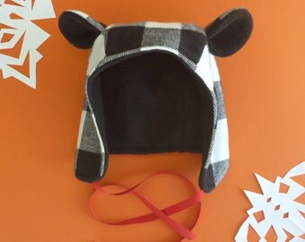 BLACK AND WHITE Plaid Fabric Winter Bear Hat- Toddler, Kids, and Adult Sizes!