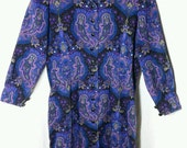 Incredible Vintage WILLIAM PEARSON Couture Blue/Purple Paisley Wool Dress | Size 16
