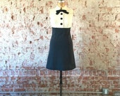 1960s Mod Shift Dress White Gray Bowtie Collar Wool Colorblock Tuxedo Scooter Dress XS/S