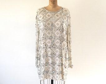 1980s Vintage White Silver Sequin Mini Dress Geometric Diamond Disco Holiday Dress L