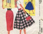 "McCalls 3809  Vintage 1950s skirt pattern - Waist 25.5"","