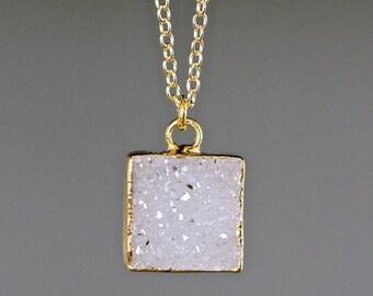Druzy Quartz Necklace - White Druzy Necklace - Druzy Quartz Pendant - White and Gold Necklace - Druzy and Gold - Druzy Jewelry - Gift