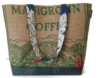 Gift Idea for Mom. Maui and Pineapple Print Tote Handbag. Repurposed Mauigrown Coffee Bag. Handmade in Hawaii.