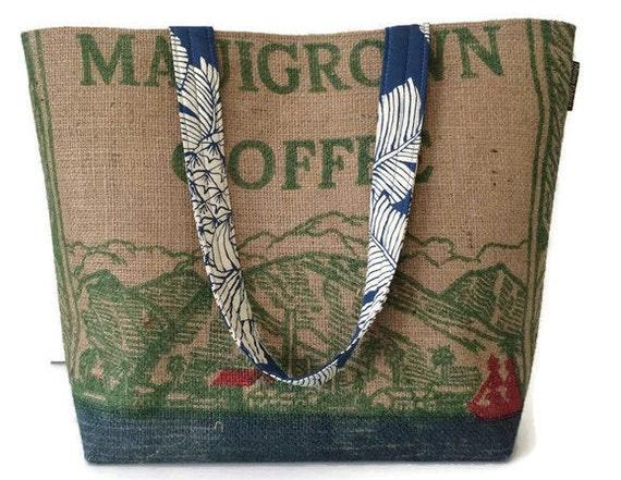Maui and Pineapple Print Tote Handbag. National & International Coffee Day. Repurposed Mauigrown Coffee Bag. Handmade in Hawaii.