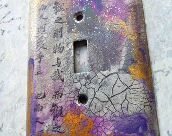 Oriental Night Out, switch plate cover, mixed media, collage, gray, silver, purple, pink, gold, glitter