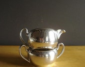 Silverplate Sugar Bowl and Creamer - Vintage Silver Plate Academy Mini Vases with Handles
