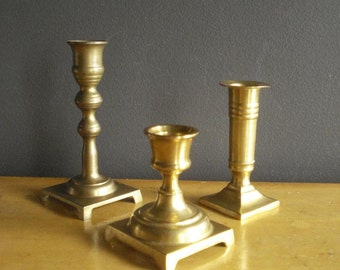 Small and Bright - Three Vintage Brass Candle Holders - Brass Candlesticks - Unmatched Set Trio