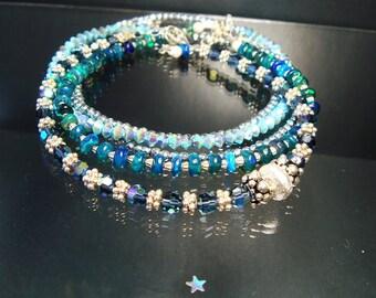Bali Silver Bracelet, Swarovski Crystal Bracelet, Silver Stacking Bracelet, Blue Jean, Denim, Layering Bracelet