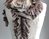 SALE - Taupe pleated scarf and cream/gold/taupe mixed fabric rose brooch pin.