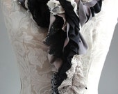 SALE - Patchwork petal scarf by Fairytale13 - black and cream, chocolate, taupe, stripe, lace and print mix - handmade in the Uk.