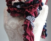 SALE - Patchwork petal scarf by Fairytale13 - navy blue, reds, cream, nautical stripe, lace and gold mix - handmade in the Uk.