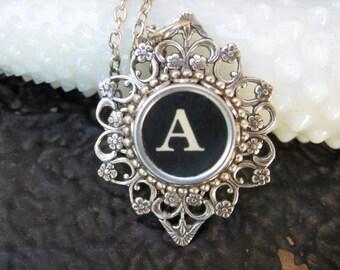 Typewriter Key - Initial A - Typewriter key Jewelry - Typewriter Necklace