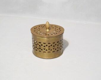 Vintage Brass Cricket Box / Keepsake Good Luck Trinket Box Round Metal Container, Potpourri, Treasure Chest, Jewelry Box, Incense Burner
