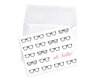 Teacher Gift Set Personalized Note Card Holiday Gift Teacher Elementary Glasses Eyelash Hipster Gift Glasses Nerd Customized Name Stationery