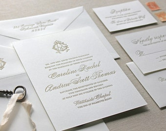 Letterpress Wedding Invitation - Charleston Design - Calligraphy,Traditional, Elegant, Simple, Classic, Script, Custom, Formal, Destination