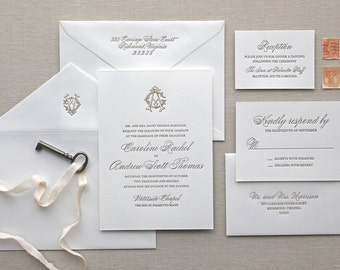 Charleston Letterpress Wedding Invitation - Calligraphy,Traditional, Elegant, Simple, Classic, Script, Custom, Formal, Destination