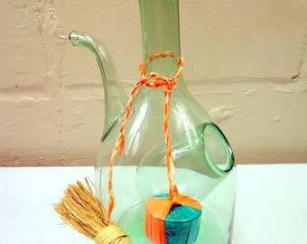 Mid Century Vintage Italian Blown Glass Wine Decanter