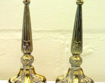 1900's Art Nouveau Pot Metal Candle Holder Set of Two