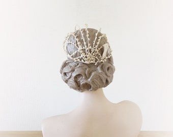 Juliette cage tiara || bridal wax floral head piece || 1910 by cubesandsquirrels