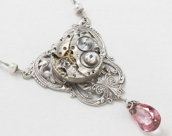 Steampunk Necklace Vintage Waltham Pocket Watch Movement with Pink Quartz & Pearl Victorian Silver Flower Filigree Statement Necklace 3027