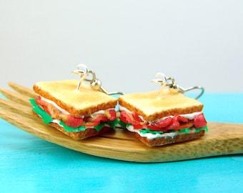 Sandwich Earrings // BLT Earrings // MADE to ORDER Food Jewelry