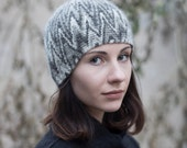 Crocheted Beanie Hat -- Black and White I