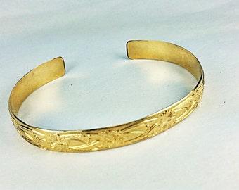 14K Gold Fill Small Floral Cuff Bracelet