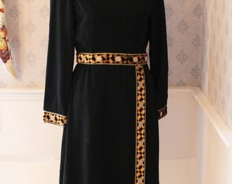 Vintage 1960s to 70s Black Wool Long Sleeve Dress with Gold Ribbon Detail