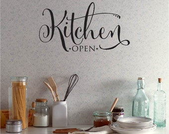 Kitchen Open wall decal, quotes, pantry door decal, sticker, wall decor, vinyl lettering (PC1168)