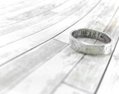 Personalized Mens Ring Sterling Silver Rustic Band Solid Sterling Silver Rustic Ring Wild Heart