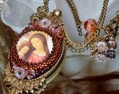 Jesus and Mary bead embroidery prayer necklace Pamelia Designs Sacred Jewelry
