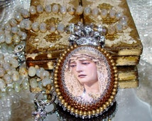 Tears of Mary bead embroidery pendant hand knotted prayer necklace Sacred Jewelry Pamelia Designs