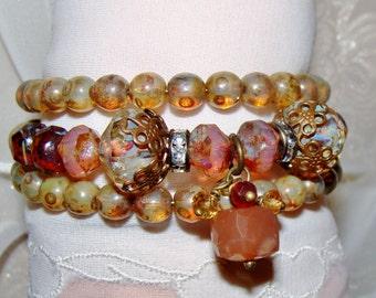 Bohemian peach moonstone, citrine gemstone Picasso beads memory wire wrap bracelet Pamelia Designs Sacred Jewelry